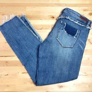BLANKNYC Frays for Days Crop Skinny Raw Hem Jeans